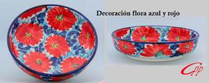 Ensaladeras decoración azul y rojo
