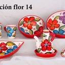 cuenco, aceitera, barca, cuchara, decoración flor 14